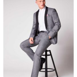 2 Piece Grey Suit with Faux Leather Collar & Lapels