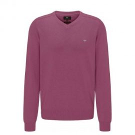 Fynch Hatton V neck supersoft cotton sweater (dragon fruit)