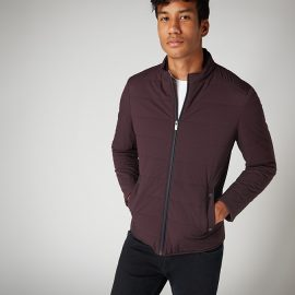 Remus Uomo burgundy slim fit quilted casual jacket