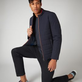 Remus Uomo navy slim fit quilted casual jacket