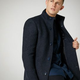 Remus Uomo tapered fit wool mix overcoat
