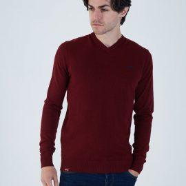 Tom V Neck biking red melange sweater