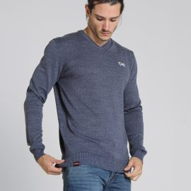 Tom V Neck denim sweater