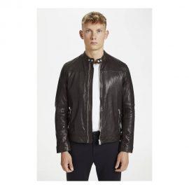 Matinique dark brown soft leather jacket