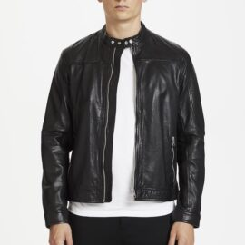Matinique black soft leather jacket