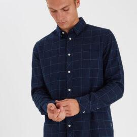Solid navy check shirt