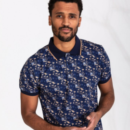 4ff cobalt and taupe print polo top