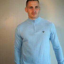 Walker and Hunt light blue half zip sweater