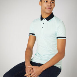 Tapered fit cotton-stretch pique mint polo shirt by Remus Uomo