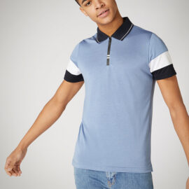 Tapered fit cotton stretch blue polo top by Remus Uomo
