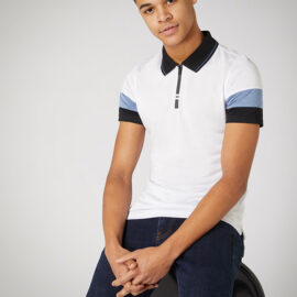 Tapered fit cotton stretch polo top by Remus Uomo